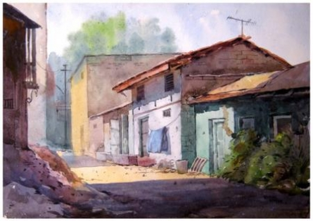 Landscape 9   Painting by artist Vinayak Potdar   watercolor   Paper