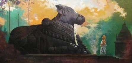 Landscape Acrylic Art Painting title Holy Nandi by artist Vinayak Potdar