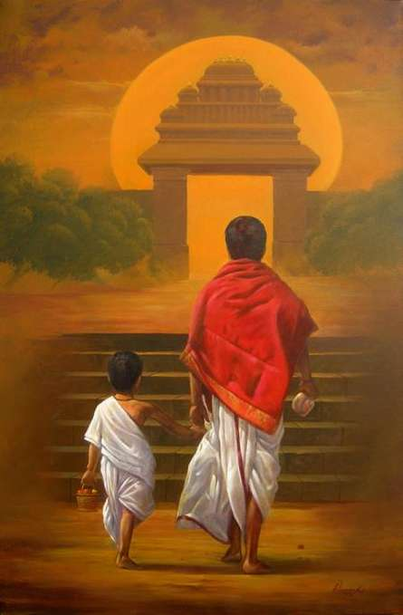 Motivational Acrylic Art Painting title 'On Holy Path' by artist Vinayak Potdar
