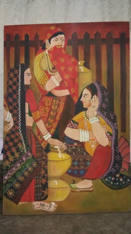 Women with Pots | Painting by artist Suman Chakraborty | oil | CardBoard