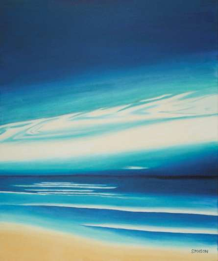 Seascape Oil Art Painting title 'Blue Sky' by artist SIMON MASON
