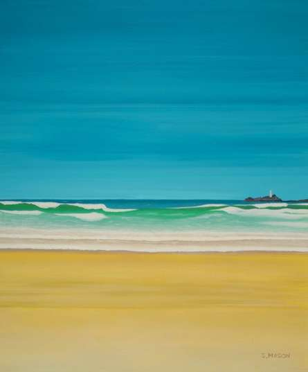 Seascape Oil Art Painting title 'Godrevy Lighthouse Gwithian' by artist SIMON MASON