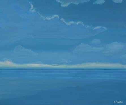 Seascape Oil Art Painting title 'Moonlight' by artist SIMON MASON