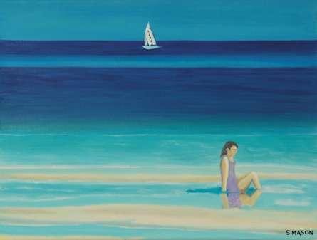 SIMON MASON | Oil Painting title On The Beach on Canvas | Artist SIMON MASON Gallery | ArtZolo.com