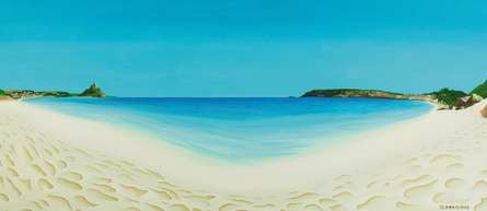 Seascape Oil Art Painting title 'Perfect Day Longrock Beach Marizion' by artist SIMON MASON