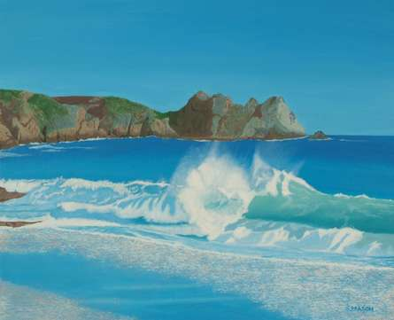 SIMON MASON | Oil Painting title Porthcurno Wave on Canvas | Artist SIMON MASON Gallery | ArtZolo.com