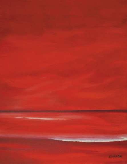 Seascape Oil Art Painting title Red Sky by artist SIMON MASON