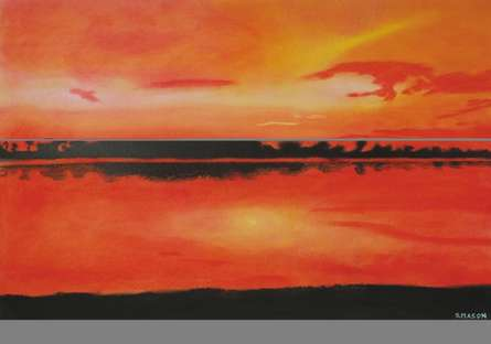Landscape Dry-pastel Art Painting title Red Sky At Night by artist SIMON MASON