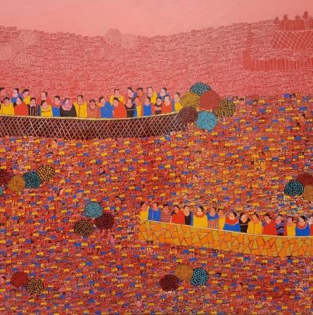 Cityscape Acrylic Art Painting title Cityscape 13 by artist Rama Krishna V
