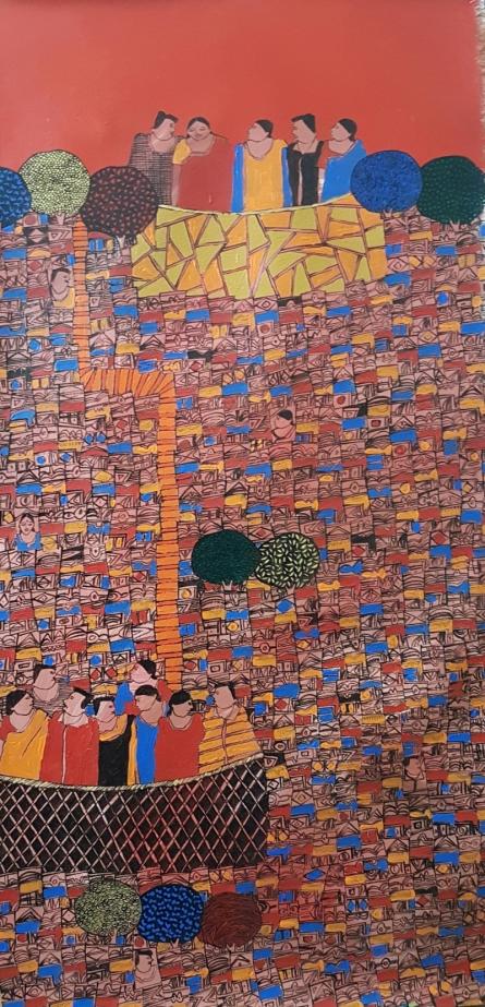 Cityscape Acrylic Art Painting title 'Cityscape 16' by artist Rama Krishna V