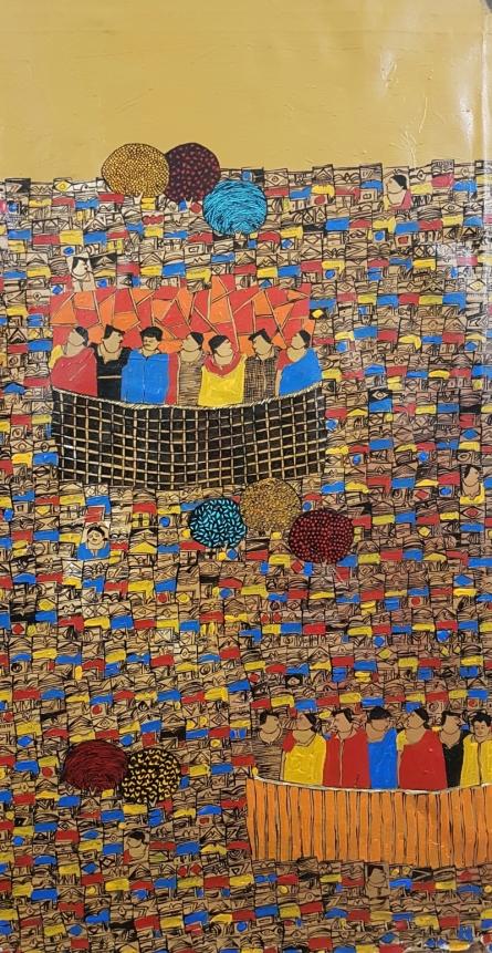 Cityscape Acrylic Art Painting title 'Cityscape 18' by artist Rama Krishna V