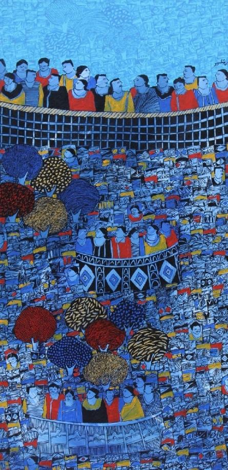 Cityscape Acrylic Art Painting title 'Cityscape 2' by artist Rama Krishna V