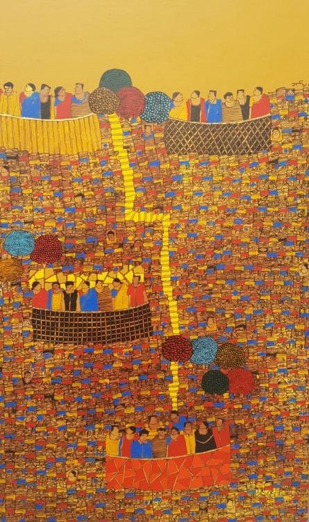 Rama Krishna V | Acrylic Painting title Cityscape 20 on Canvas | Artist Rama Krishna V Gallery | ArtZolo.com