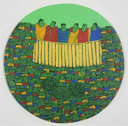 Cityscape Acrylic Art Painting title Cityscape 2 by artist Rama Krishna V