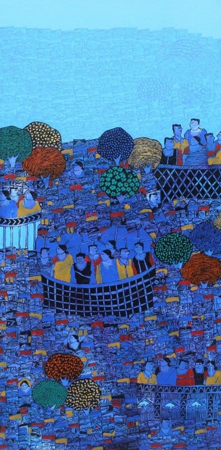 Cityscape Acrylic Art Painting title 'Cityscape 4' by artist Rama Krishna V