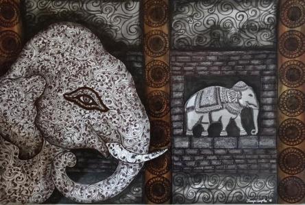 Animals Mixed-media Art Painting title 'Ancient Aura 3 Work' by artist Sreya Gupta