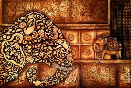 Animals Mixed-media Art Painting title Ancientaura2 by artist Sreya Gupta
