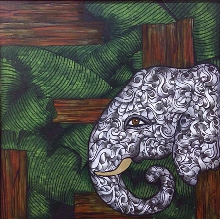 Sreya Gupta | Acrylic Painting title Cage Of Contemplation on Canvas | Artist Sreya Gupta Gallery | ArtZolo.com