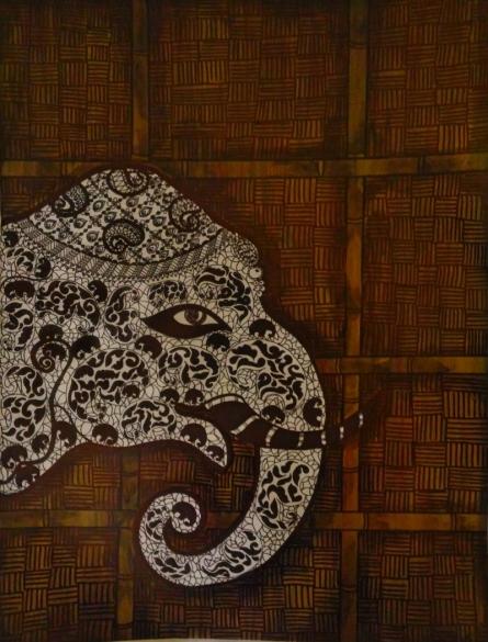 Animals Mixed-media Art Painting title 'Gaja 19' by artist Sreya Gupta