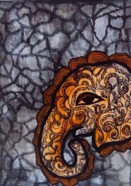 Gaja 4 | Painting by artist Sreya Gupta | mixed-media | Paper