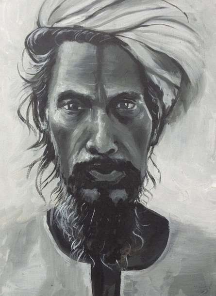 Portrait Acrylic Art Painting title 'Antique man' by artist Rajesh Gawhale