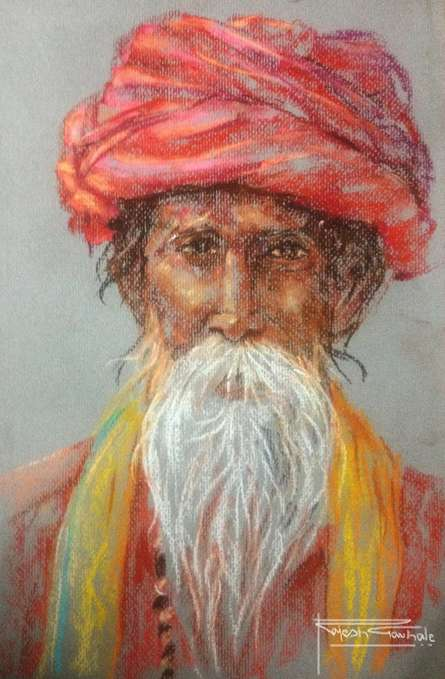 Portrait Dry-pastel Art Painting title 'Soft Pastle Potrait' by artist Rajesh Gawhale