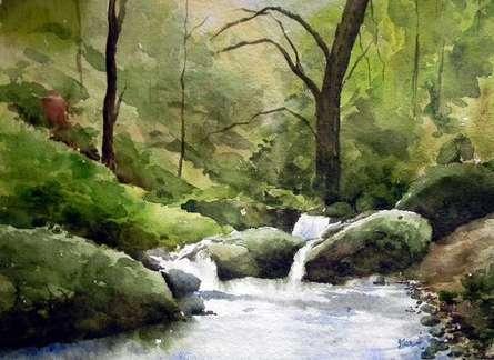 Landscape Watercolor Art Painting title 'Flow' by artist Jitendra Sule