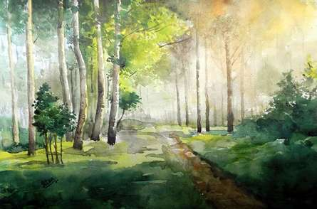 Harmoney With Nature | Painting by artist Jitendra Sule | watercolor | Handmade Paper