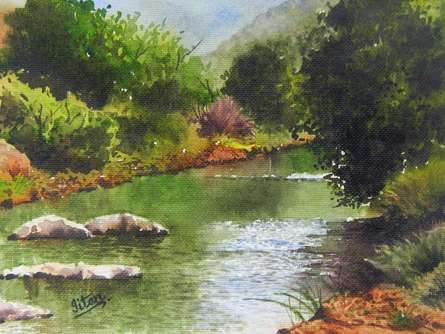 Jitendra Sule | Watercolor Painting title Mesmerizing Stillness on Handmade Paper | Artist Jitendra Sule Gallery | ArtZolo.com