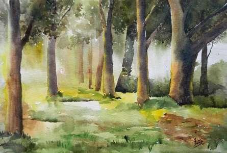 Morning In Wood | Painting by artist Jitendra Sule | watercolor | Handmade Paper