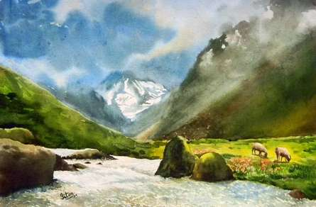 Landscape Watercolor Art Painting title 'Vally Of Joy' by artist Jitendra Sule