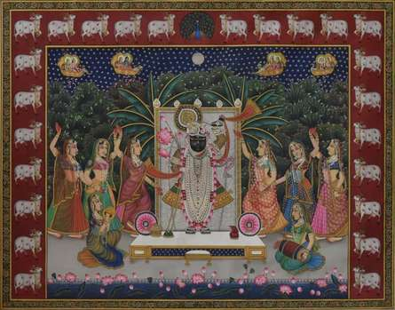 Religious Tribal Art Painting title Srinathji by artist Rajendra Khanna