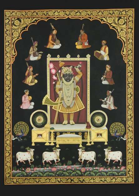 Religious Tribal Art Painting title Srinathji with Musicians by artist Rajendra Khanna
