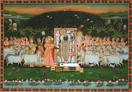 Lord Krishna Sandhya Aarti | Painting by artist Rajendra Khanna | other | Cloth