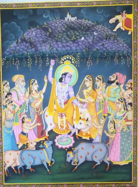 Religious Tribal Art Painting title 'Lord Krishna with Cow' by artist Rajendra Khanna