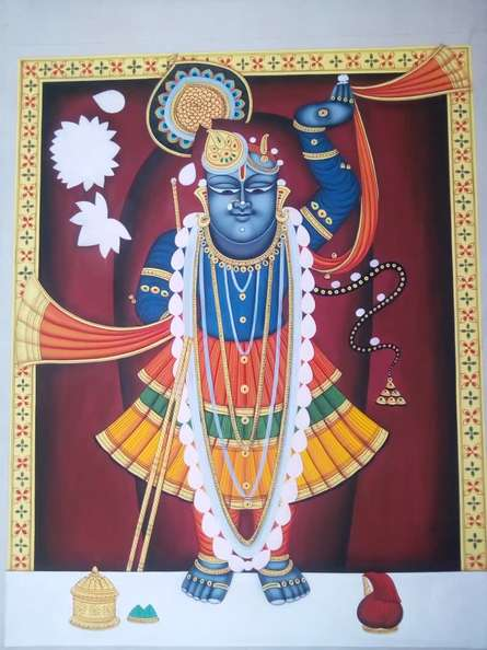 Religious Tribal Art Painting title 'Lord Sreenath' by artist Rajendra Khanna