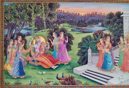 Religious Tribal Art Painting title 'Radha Krishna in Jhula' by artist Rajendra Khanna