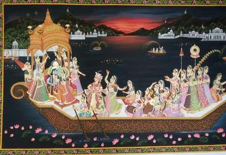 Rajendra Khanna Paintings | Tribal Painting - Krishna Nauka Vihar by artist Rajendra Khanna | ArtZolo.com