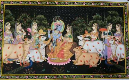 Religious Tribal Art Painting title 'Krishna Leela' by artist Rajendra Khanna