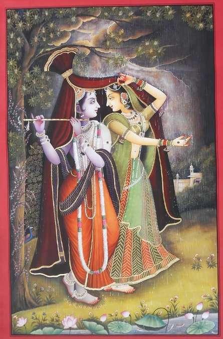 Religious Tribal Art Painting title Krishna Radha Rain Leela by artist Rajendra Khanna
