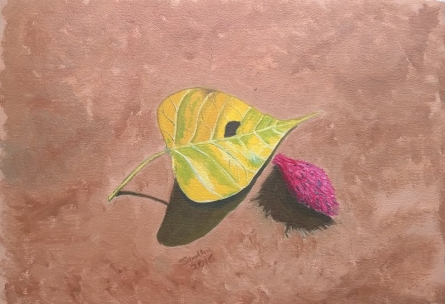 A Peepal Leaf And A Badam Fruit | Painting by artist Sindhulina Chandrasingh | oil | Paper