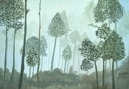 A Misty Morning | Painting by artist Sindhulina Chandrasingh | watercolor | Paper