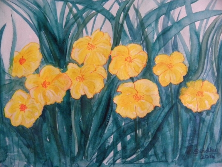 Yellow flowers - 3   Painting by artist Sindhulina Chandrasingh   watercolor   Paper