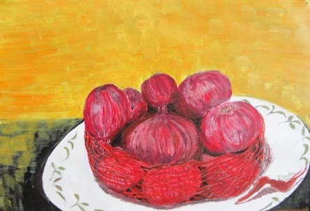 Onions in the bag | Painting by artist Sindhulina Chandrasingh | acrylic | Paper