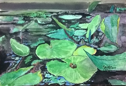Nature Watercolor Art Painting title Waterlily Leaves In Watercolour by artist Sindhulina Chandrasingh