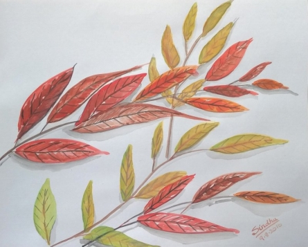 Red Leaves | Painting by artist Sindhulina Chandrasingh | watercolor | Paper