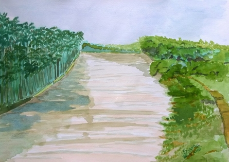 A muddy river | Painting by artist Sindhulina Chandrasingh | watercolor | Paper