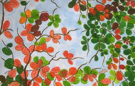 Nature Watercolor Art Painting title Leaves in flowers colours by artist Sindhulina Chandrasingh