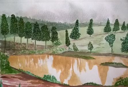 Muddy shadows | Painting by artist Sindhulina Chandrasingh | watercolor | Paper