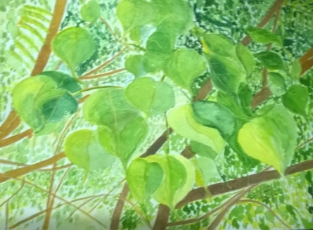 Sunlit Leaves   Painting by artist Sindhulina Chandrasingh   watercolor   Paper